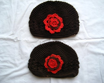 Brown or ecru crocheted hats--Infant size 0-6 months--Ready to ship!!!