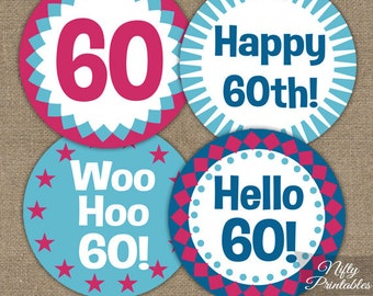 60th Birthday Cupcake Toppers -Sixtieth Blue & Pink Party Printables - DIY 60th Favor Tags - Magenta Blue Sixty Birthday Toppers