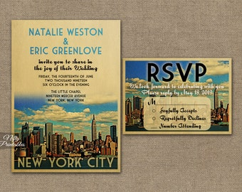 New York Wedding Invitation - Printable Vintage New York City Wedding Invites - Retro NYC Wedding Set or Solo VTW