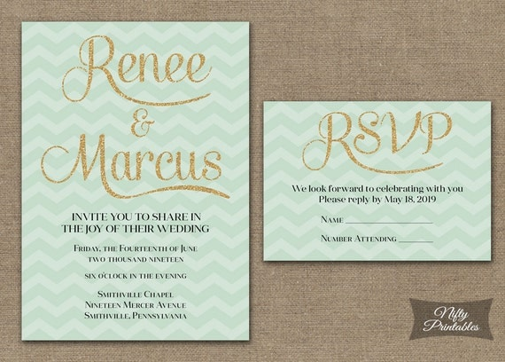 items similar to mint gold wedding invitations - printable mint, Wedding invitations