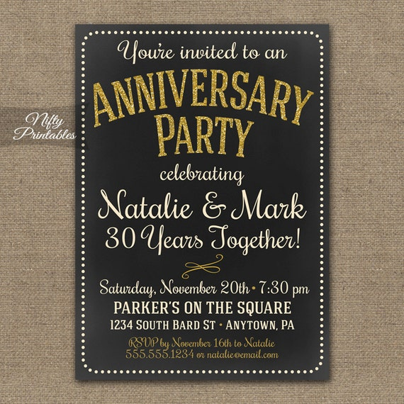 Chalkboard Anniversary Invitations Printable by ...