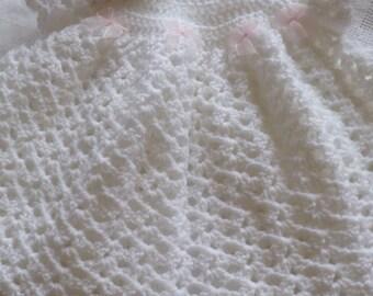 Baby girl's white crochet dress