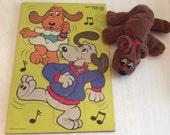 1987 Tonka Pound Puppies Puzzle and Stuffed Puppy
