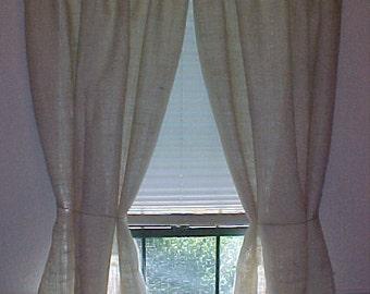 "1 Pair Rustic Country Primitive Burlap Curtain Panels 84"" Long Cottage Shabby Natural Cream"