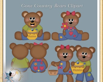 Country Teddy Bears, Commercial use, Digital Scrapbook, Clipart