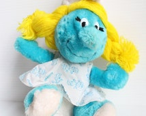SMURFETTE DOLL, vintage Smurfette, cute Smurfette, little Smurfette, stuffed Smurfette, plush Smurfette, gift for girl, gift Smurf collector