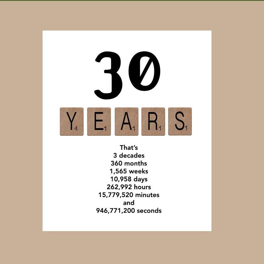 30th Birthday Card Milestone Birthday Card by DaizyBlueDesigns
