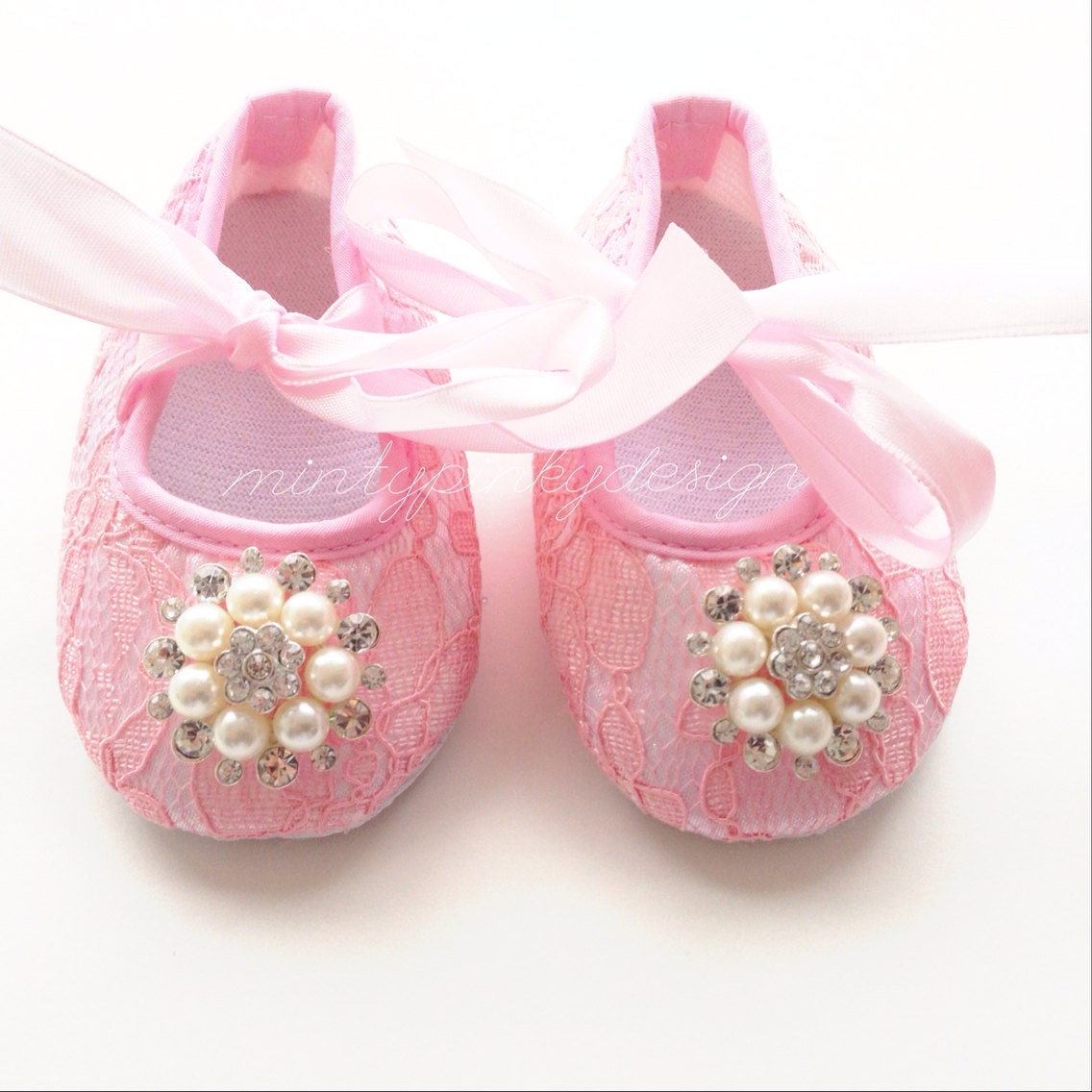 Pink baby shoes baby crib shoes christening baptism shoes
