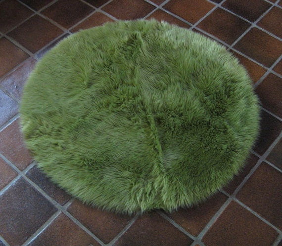 4'9 Large Round OLIvE GREEN Faux Fur Rug Non-slip Washable