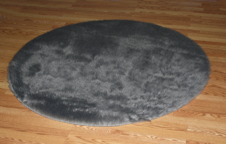 3 Round Small Gray Faux Fur Rug Non Slip Washable Great