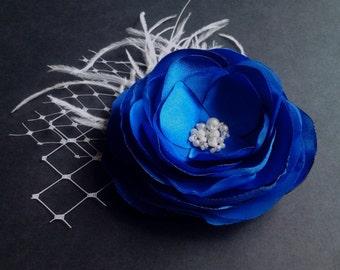 Royal Blue Hair Clip Blue Headpiece Royal Blue Hair Flower Blue Bridal Hairpiece Blue Gift Ivory Pearls Feathers  - Blue Bridal Hair Clip