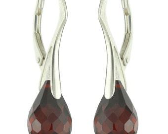 925 Sterling Silver Natural Briolette Garnet Leverback Earrings