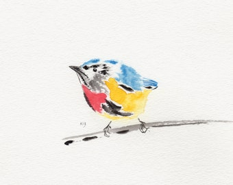 """Original watercolor painting titled """"Fire-breasted Flower Pecker"""""""