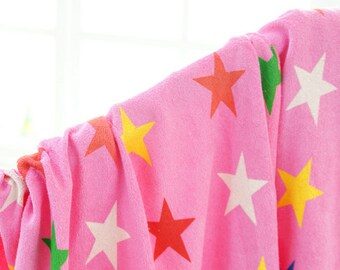 Terry Cloth Fabric Star Pink By The Yard