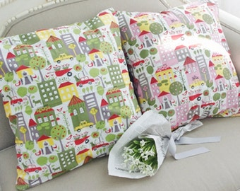 Cotton Fabric Town in 2 Colors By The Yard