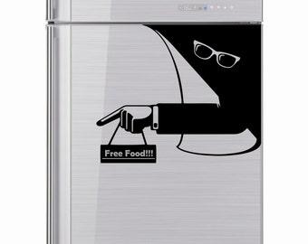 Fridge Sticker, Invisible Man, Ray Ban Glasses, Freezer, Refrigerator Decal, Kitchen Sticker Decal, Housewares, Sticker for Fridge