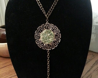 Necklace - Antique Gold with Green Stone Medallion