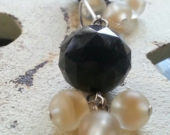 Earrings - Art Deco Inspired Cream and Onyx Black Beaded