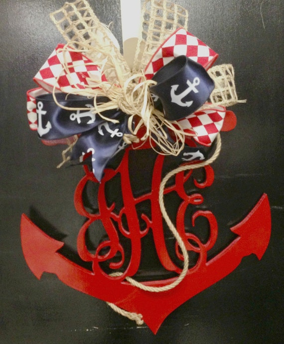 Items similar to anchor with monogram door decor on etsy for Anchor door decoration
