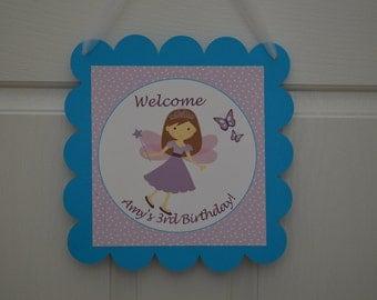 Fairy Theme Happy Birthday Door Sign - purple and blue