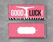 Gymnastics GOOD LUCK Candy Bar Wrapper – Printable Instant Download – Hershey's Candy Bar Wrapper with Gymnast on Beam – Gymnastics Gifts
