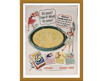 "1943 Lipton's Noodle Soup AD / It's grand! I love it! What's its name? / Original Print Ad / 9 3/4"" x 13 5/8"" / Buy 2 ADS Get 1 FREE"