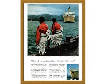 "1957 Orient & Pacific Lines Color Print AD / Australia Fiji Hawaii / 6"" x 9"" / Original Print Ad / Buy 2 ads Get 1 FREE"