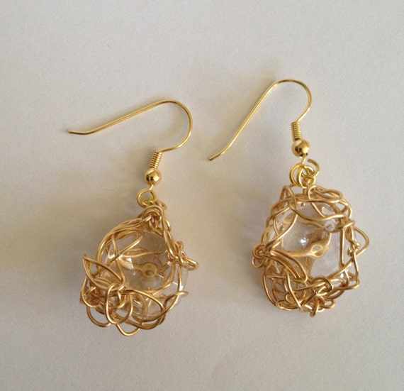 Stunning handmade gold plated wire crochet earrings (two sizes) with recycled chandelier crystal