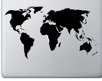 World Map Decal for Apple MacBook - MacBook Air - Laptop Decal - Great White