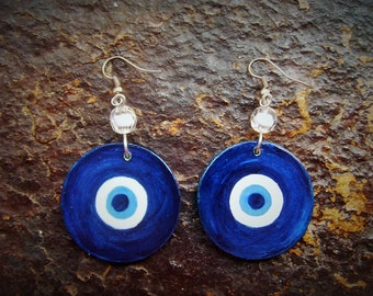 Earrings TURKISH EYE - hand painted wood