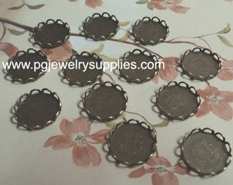 13mm round brass ox plated lace edge bezel cameo cabochon settings 12 pcs lot l