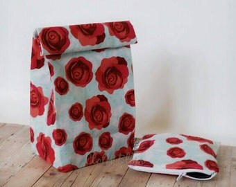 Lunch sack, snackbag, roses, reusable pouch set, food storage bag