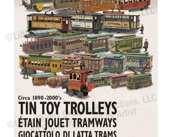 Tin Toy Trolleys Print, 24 x 30, With Rare Antique Toys & Multi-Language Design