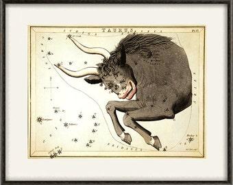 Constellation taurus zodiac celestial art star map old prints Home decor wall print poster antique prints zodiac art constellation art