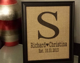 Framed Burlap Print - Monogram with Name and Wedding Date - Customizable - Personalized - Wedding - Anniversary - 8x10