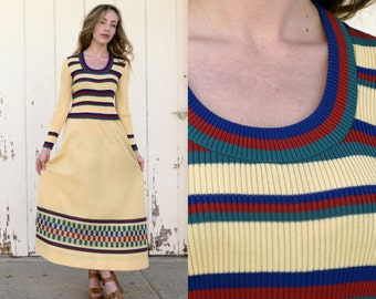 RARE 70s MAXI DRESS Yellow Sweater Long Sleeve Multi Color Striped Red Green Blue Hippie Boho Floor Length Winter Checkered Pattern Size S
