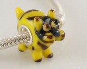 CLEARANCE - Tabby CAT Murano European Bead Charm .925 Sterling Silver