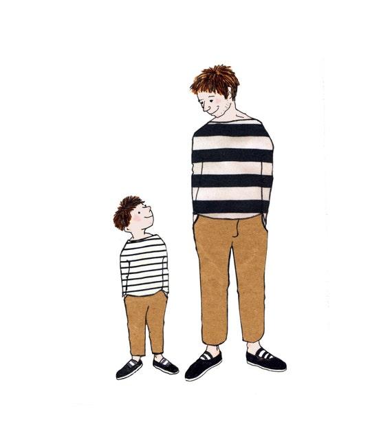 AMIGOS la tarjeta perfecta para cualquier padre con un hijo. Tarjeta impresa de obras de arte originales, dibujo de líneas con el collage.