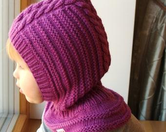 READY TO SHIP sizes 6-12m, 3-6-10y! Merino Wool Balaclava,Baby/Toddler Hoodie hat,Orhid Purple Neckwarmer Hat.