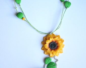 Sunflower Necklace with leaves.