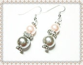Pearl Drop Earrings~Glass Pearl Earrings~Pink Earrings~Dangle Earrings~Wedding Earrings~Women's Glass Pearl Earrings~Women's Jewellery