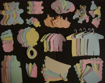 80 Baby Die Cuts mixed pack for cards toppers cardmaking scrapbooking nappy cakes baby shower