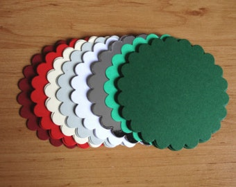 20 Large Christmas Scalloped circle die cuts for matting layering cards toppers craft projects ready to post
