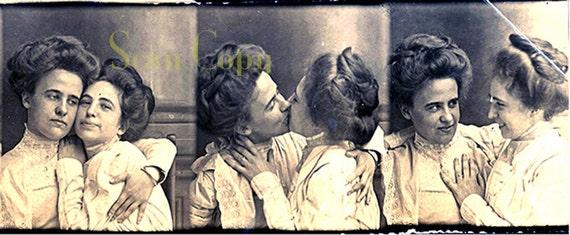 1890S Lesbian Kiss Victorian Love Seduction Gay-4621