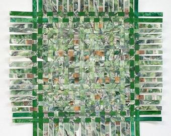 Green Forest Paper Weaving- Handwoven Art- Hidden- Original Watercolor- Woven Paper Art-  Large Abstract- Rustic Decor- 18x18