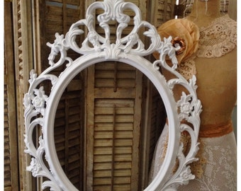 Ornate Oval Frame White Baroque Wedding Picture Frame Shabby Chic Large Photo Prop Frame