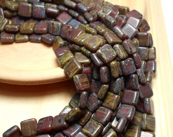 31 Rustic Czech Beads, 9mm Flat Square Earthy Beads, Forest Green Beads, Red Beads, Flat Beads, Czech Beads D-C05