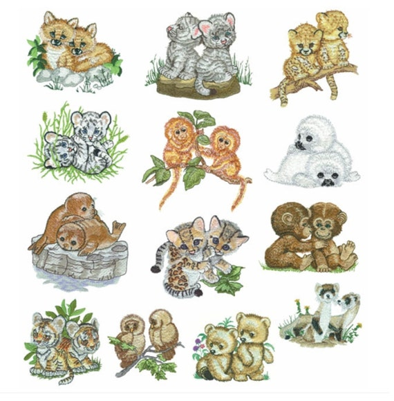 Items similar to baby animals set machine embroidery