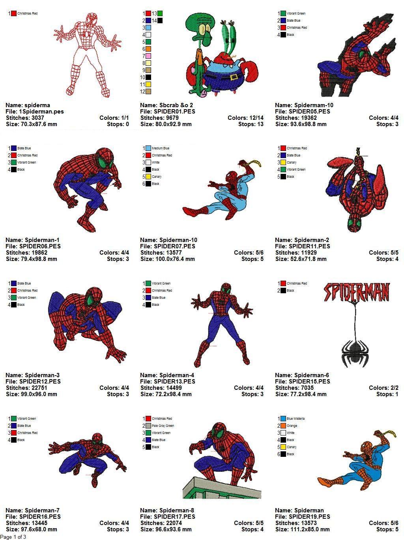 Spiderman Machine Embroidery Designs Pes Hus Jef Dst Exp Etc
