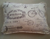 Custom Order for KF  Tan. Brown. Hint of Purple. Pillow Cover. Handmade. Vintage Look. Paris. Cording and zipper closure.